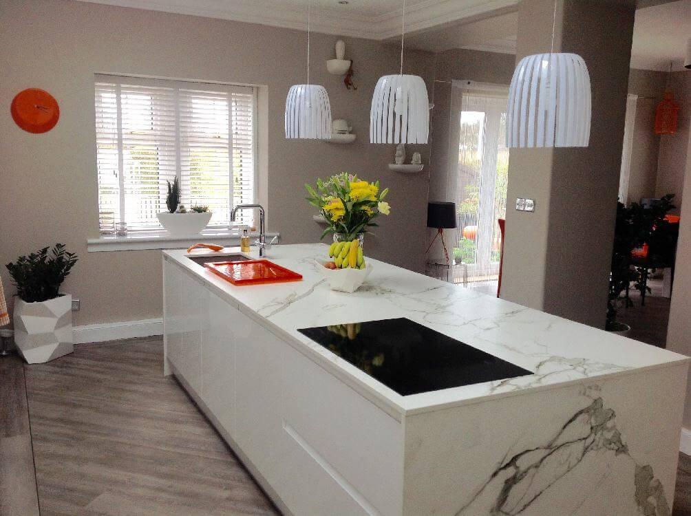 white gloss kitchen island - Kitchen Islands
